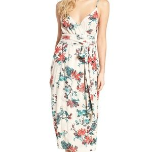 Hinge Floral Printed Wrap Maxi Dress Size Medium